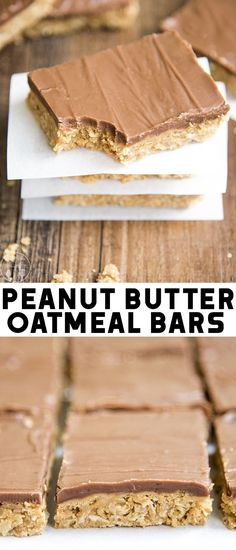 These peanut butter oatmeal bars are rich and hearty peanut butter cookie bars p.These peanut butter oatmeal bars are rich and hearty peanut butter cookie bars packed full of oatmeal, and topped with more creamy peanut butter and a rich chocolate Peanut Butter Squares, Peanut Butter Oatmeal Bars, Peanut Butter Frosting, Peanut Butter Recipes, Creamy Peanut Butter, Oatmeal Cookie Bars, Chocolate Frosting Recipes, Brownie Recipes, Cookie Recipes