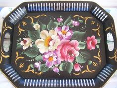 Hand Painted Pink White Pastel Roses Vintage Country Cottage Black Tole Tray