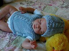 Baby Boy Hat and Cable Vest in Blue Cotton Size 0 to 3 Months Children Clothing. $45.00, via Etsy.