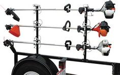Weed Trimmer Rack For Landscaping Equipment Trailers. Get Your Landscaping And Turf Products At Zequip Equipment Superstore! Landscaping Equipment, Landscaping Tools, Lawn Equipment, Landscaping Software, Lawn Mower Trailer, Lawn Care Business Cards, Landscape Trailers, Trailer Organization, Trailer Storage