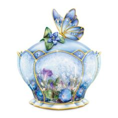 """Butterfly Floral Art Heirloom Porcelain Music Box: Whispering Wings Plays: """"On the Wings of Love."""""""
