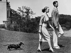 John A. Roosevelt with Wife and Pet Dachshund