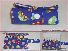 Pencil Roll Small - Blue car - The Supermums Craft Fair