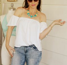 I have seen off the shoulder tees everywhere this spring. I really want to attempt to make one out some very pretty, flora...