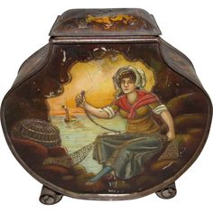 Wonderful 1898 Biscuit Tin, H P, Fisherman and His Wife