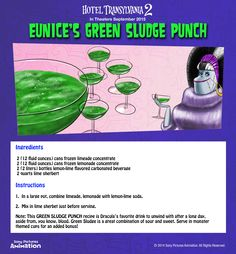 Join Eunice, the Bride of Frankenstein, for a drink of her fancy, lemon-lime Green Sludge Punch that kids will love! | Hotel Transylvania 2