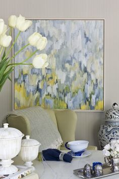 DC Design House - Amazing space with gray grasscloth wallpaper, Robert Rea Abstract Art, yellow wingback chair, marble top table and ginger jar. Blue Abstract, Painting Inspiration, Diy Art, Decoration, Modern Art, Art Projects, Sweet Home, Canvas Art, Artwork