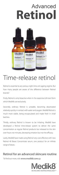 Medik8 Retinol – Vitamin A. Products containing Retinol, a pure form of vitamin A, help to fight and diminish the appearance of fine lines and wrinkles. Retinol is proven to improve mottled pigmentation, fine lines and wrinkles, skin texture, skin tone and colour, and your skin's hydration levels. Retinol exfoliates the skin constantly, and helps with collagen production, improving the skin's appearance.