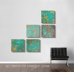 Oxidized Copper Wall Art Large 5 square panel by TwistOfUnique, $250.00