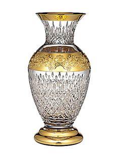 Waterford Lismore Anniversary - Lismore Castle Gilded Vase....crystal