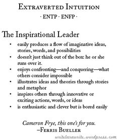 Extraverted Intuition - ENFP - The Inspirational Leader - Character Traits reference Entp Personality Type, Myers Briggs Personality Types, Personalidad Enfp, Extraverted Intuition, Vw Variant, Inspirational Leaders, Myers Briggs Personalities, Enneagram Types, Thing 1