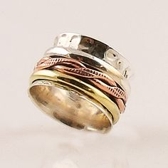 Spinner Ring - Three Tone Textured Infinite - keja jewelry – Keja Designs Jewelry