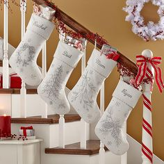 Our elegantly beaded stocking captures the magic of a white Christmas.