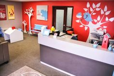pediatric clinic waiting room decor | Blue bench from Tree Top Nursery, wooden trees and canvas wrapped ...