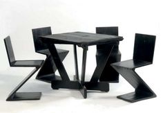 4 Rietveld Zig Zag Chairs and Table at Christie's Amsterdam Chair Design, Furniture Design, Modern Furniture, Timeline Design, Take A Seat, Art And Architecture, Zig Zag, Inspiration, Design History
