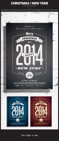 Christmas / New Year Flyer / Poster 2 by @BlueMonkeyLab