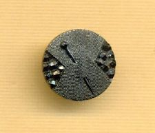 Antique Black Glass Button...PIN in CLOTH...Gunmetal Luster