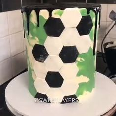 Working on a buttercream Star Wars wedding cake. By Bijou's Sweet Treats wedding cake studio. Soccer Birthday Cakes, Soccer Cakes, Football Cakes For Boys, Football Pitch Cake, Sport Cakes, Salty Cake, Fancy Desserts, Cakes For Men, Cake Tins