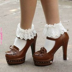 Details about Vintage Lace Ruffle Frilly Ankle Socks Ladies Princess . Dr Shoes, Sock Shoes, Me Too Shoes, Shoe Boots, Shoes Heels, Pretty Shoes, Beautiful Shoes, Cute Shoes, Frilly Socks