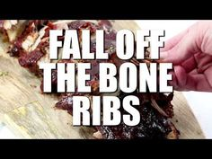 These Fall Off The Bone Ribs are a simple recipe that is baked low and slow in the oven creating a tender, juicy and flavorful bbq dinner. Pork Rib Recipes, Meat Recipes, Dinner Recipes, Cooking Recipes, Healthy Recipes, Simple Recipes, Cooking Ideas, Bbq Ribs, Pork Ribs