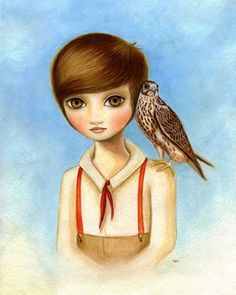 Boy and Falcon art print Boys room art - 8x10 print on premium matteThe Falconer by Marisol Spoon