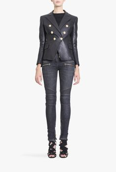 Double-breasted leather blazer | Women's leather blazers | Balmain