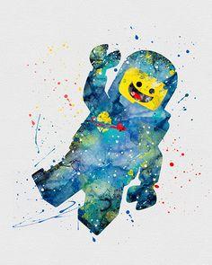 Lego Man 3 Watercolor Art
