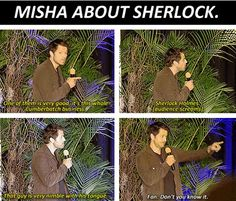Misha Collins on Cumberbatch. Johnlock, Destiel, Fandom Crossover, Spiritus, Supernatural Cast, Fandoms Unite, Geek Out, Baker Street, Misha Collins