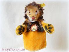 Steiff Hand Lion Leo vintage mohair hand puppet by ShabbyGoesLucky