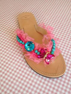 Handmade leather sandals decorated with pink and fuksia lace, turquoise semi precious stones, a turquoise crystal and a fuksia crystal butterfly