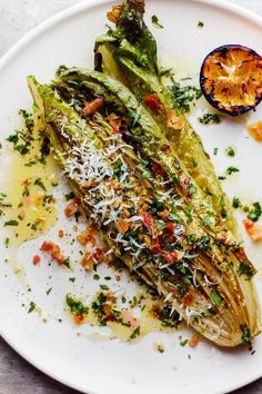 Grilled Romaine Salad with Charred Lemon Vinaigrette Recipe .-Grilled Romaine Salad with Charred Lemon Vinaigrette Recipe Gourmet Recipes, Vegetarian Recipes, Dinner Recipes, Cooking Recipes, Healthy Recipes, Meat Recipes, Grill Recipes, Lemon Recipes, Healthy Meals