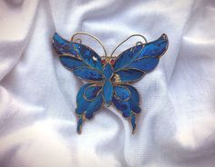 Antique Chinese Export Kingfisher Butterfly Pin Brooch Blue Feathers Gilt  | eBay
