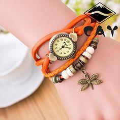 Retro Baum Blatt Leder Armkette Armband Armbanduhr Uhren Uhr Watches Die Libelle Orange - http://geschirrkaufen.online/sanwood/orange-damen-retro-baum-blatt-leder-armkette-uhr