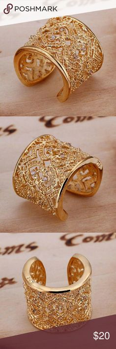 Gold Plated Sterling Silver Adjustable Ring NEW Gold Plated Sterling Silver Adjustable Ring   Gorgeous statement piece  Filigree design with crystals Jewelry Rings