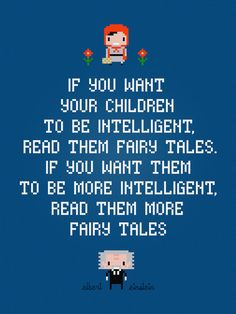 Fairy Tales - Albert Einstein Quote - Digital PDF Cross Stitch Pattern