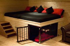 I would love to do this...the dogs would have their crates under the bed...so awesome!
