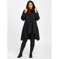 4196757850 Plus Size Heaps Collar High Low Long Hoodie