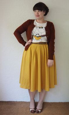Frocks and Frou Frou - Moomintroll Top & Mustard Skirt. I'm not usually a fan of t-shirts with skirts but this is adorable.