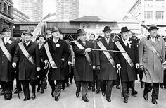 Vintage Chicago, Mayor Richard J Daley leading the St. Patrick's Day Parade down State Street