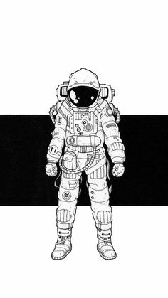 "I've always wanted to be an astronaut, and even now at 42 years old, I haven't quite given up hope, so when Jeremy Marshall commissioned an illustration and said ""… is. Astronaut Tattoo, Astronaut Drawing, Astronaut Illustration, Illustration Art, Space Drawings, Art Drawings, Galaxy Drawings, Drawing Reference, Pop Art"