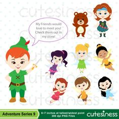 Neverland Digital Clipart Peter Pan Clipart by Cutesiness on Etsy