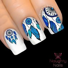 OCEAN Blue DREAM CATCHER Nail Water Transfer Decal Sticker Art Tattoo Feather