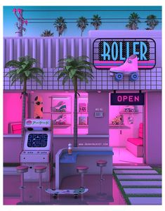 """Newretro.Net on Instagram: """"Retro Roller Store. Visit Newretro.Net for the best affordable Streetwear out Newretro.Net on Instagram: """"Retro Roller Store. Visit Newretro.Net for the best affordable Streetwear outfits Link in bio! Artist: @dennybusyet #1980 #1984…"""" Retro Wallpaper, Aesthetic Pastel Wallpaper, Aesthetic Wallpapers, New Retro Wave, Retro Waves, Purple Aesthetic, Retro Aesthetic, Photo Wall Collage, Picture Wall"""