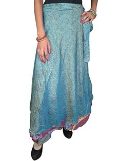 Womans Wrap Around Skirt Dusty Blue Printed Vintage Silk Sari Reversible Sarong Skirts Mogul Interior http://www.amazon.com/dp/B00P2951QM/ref=cm_sw_r_pi_dp_WF3uub1586M4H