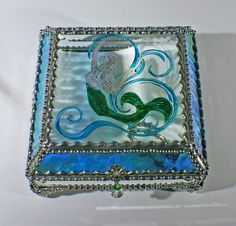 Mermaid Carved Glass Jewelry Box -  Faberge Style by FabergeStyleBoxes on Etsy