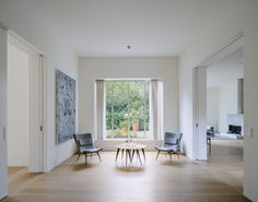 House in Bogenhausen is a minimal home located in Munich, Germany, designed by David Chipperfield Architects Amazing Architecture, Architecture Details, Villa David, Coloured Render, Living Area, Living Spaces, Living Room, David Chipperfield Architects, Minimal Home