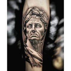 60 Roman Statue Tattoo Designs For Men - Stone Ink Ideas Statue Tattoo, Zeus Tattoo, Tattoos Arm Mann, Arm Tattoos For Guys, Hand Tattoos, Sleeve Tattoos, Gladiator Tattoo, Super Mario Tattoo, Pocket Watch Tattoos