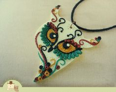 Polymer clay necklace ~ Love those Eyes ...M
