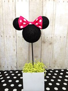 HEAD ONLY with bow. Custom Minnie Mouse children's birthday party centerpiece Topiary decoration Red or Pink on Etsy, $8.00