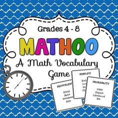 Ever heard of Taboo?! This Math Taboo game incorporates math vocabulary terms into a really fun game and can be used all year long! 153 Mathoo cards included!This game is great for 3rd  8th grade students, but can even be used as a review for older students.